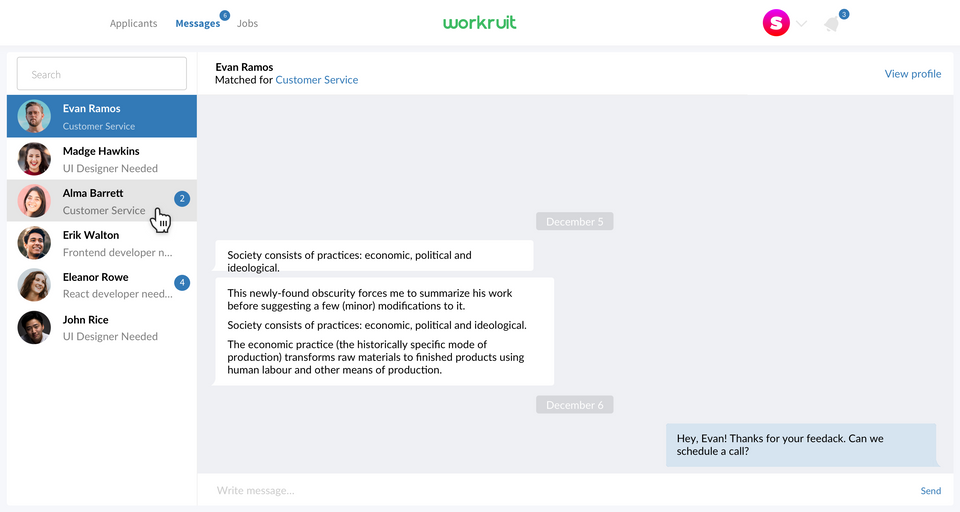 Workruit web app messaging section