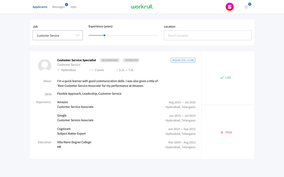 Workruit web app — choosing applicants